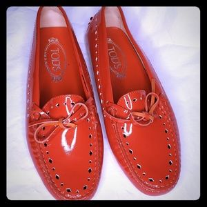 Tod's Red Patent Leather Loafers